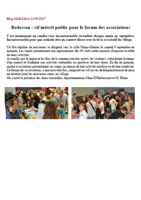 Forum des associations à Redessan 2017